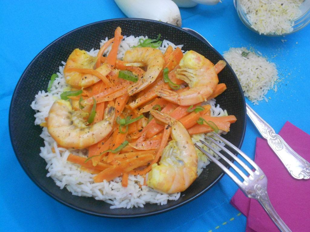 wok de crevettes régime okinawa