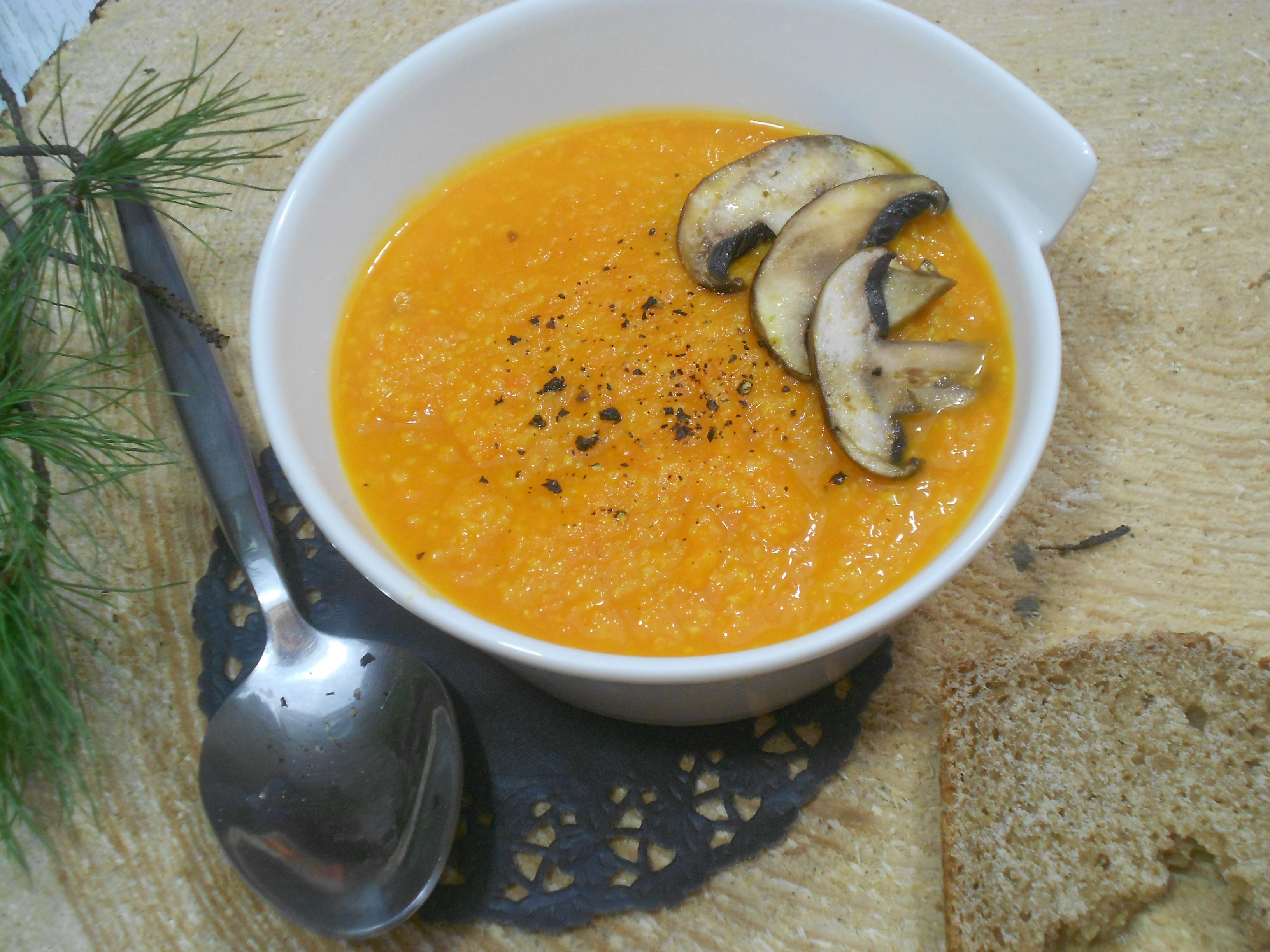 velouté de carottes consistant à la polenta