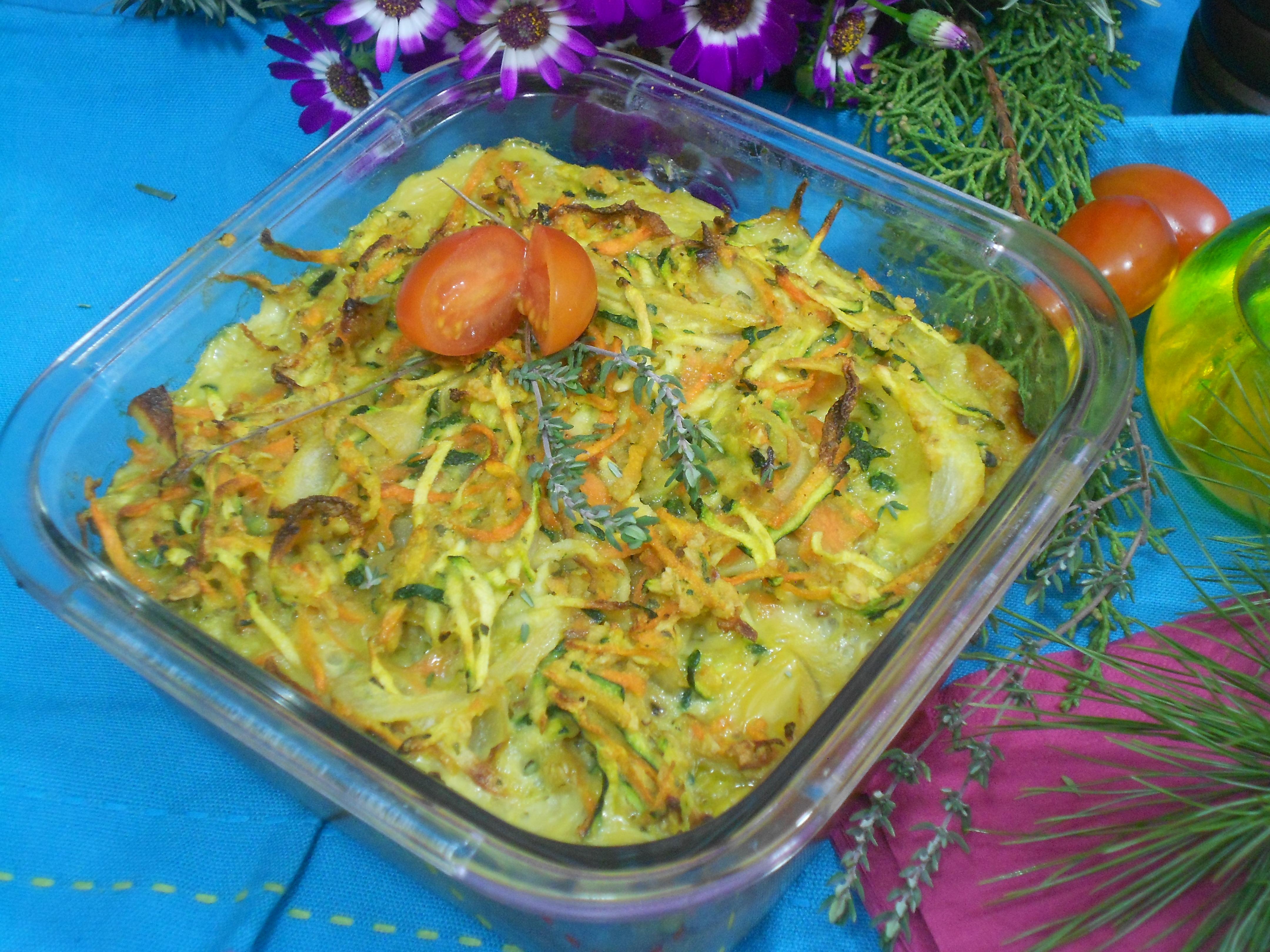 un original gratin de carottes et courgettes