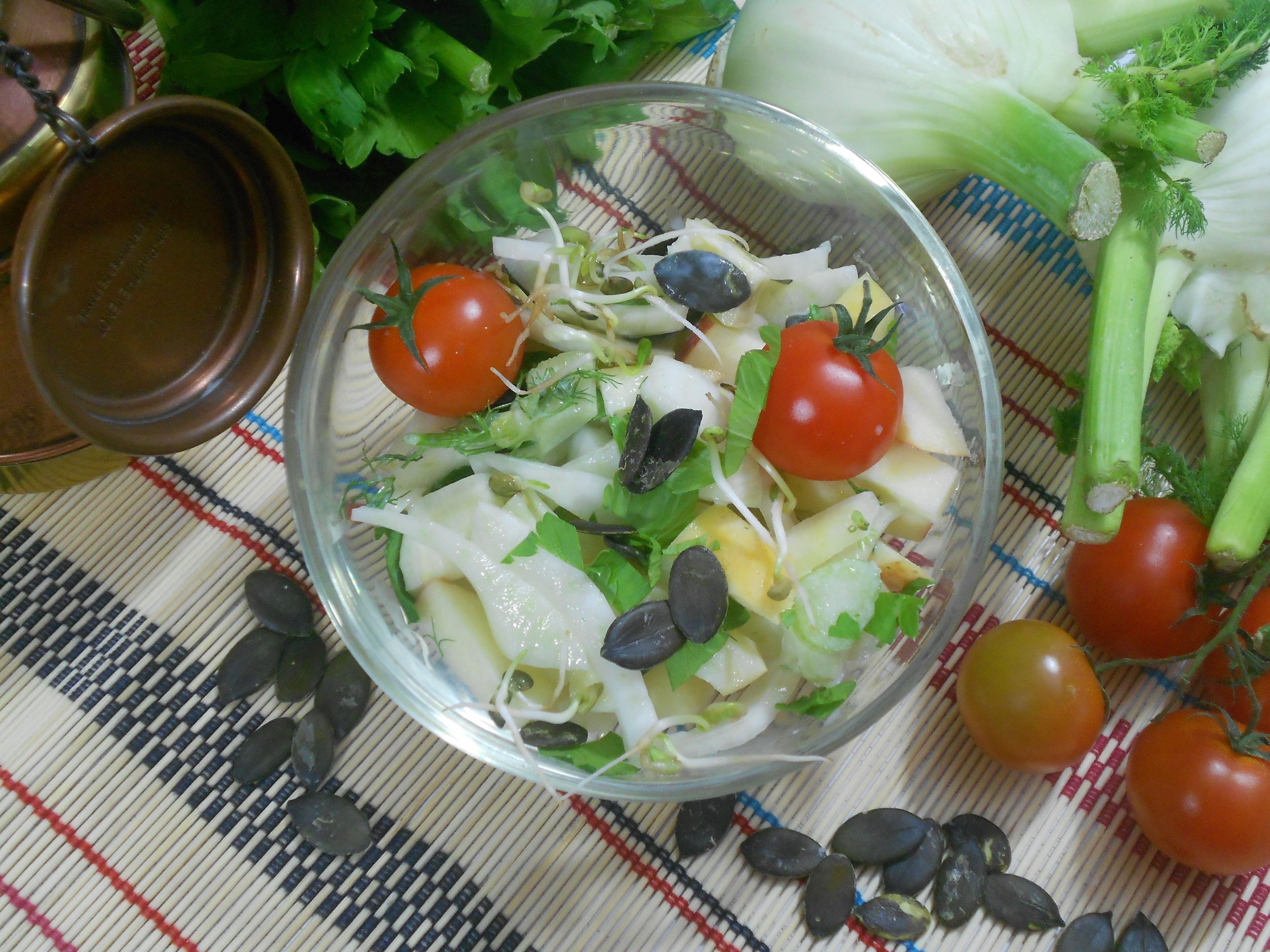 une salade de fenouil et graine de courge, aliments riches en zinc
